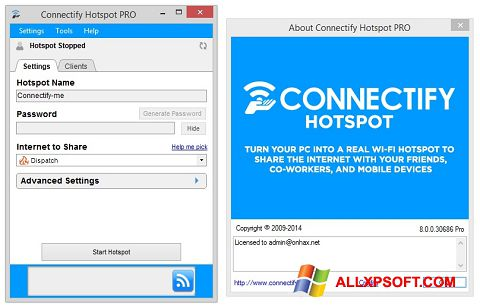 צילום מסך Connectify Hotspot Windows XP