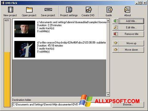 צילום מסך DVD Flick Windows XP