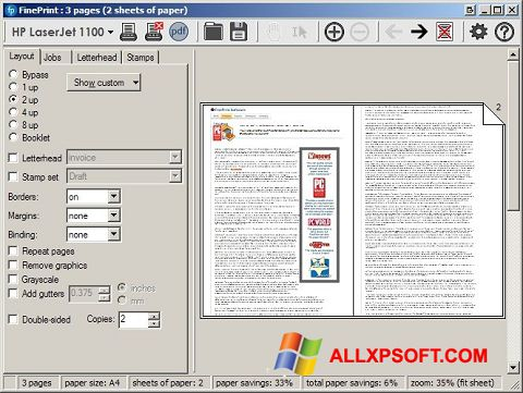 צילום מסך FinePrint Windows XP