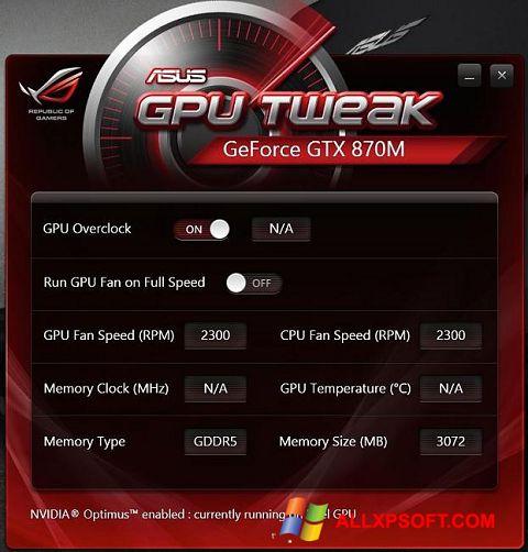 צילום מסך ASUS GPU Tweak Windows XP