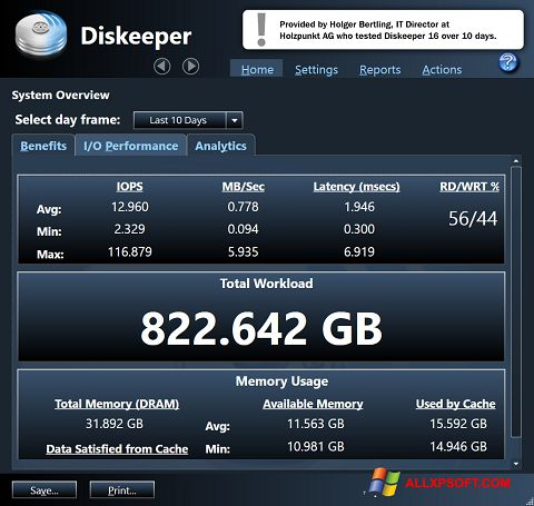 צילום מסך Diskeeper Windows XP