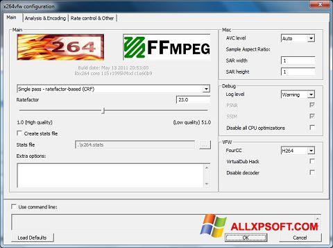 צילום מסך x264 Video Codec Windows XP