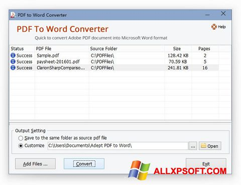 צילום מסך PDF to Word Converter Windows XP