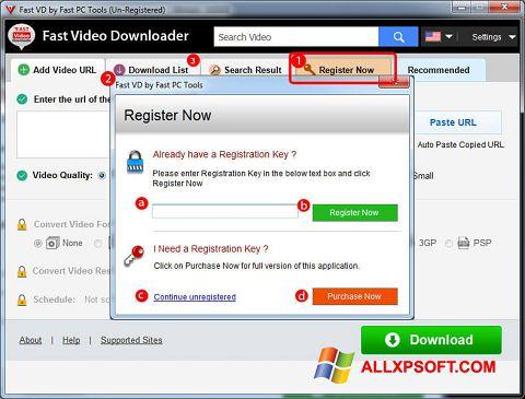 צילום מסך Fast Video Downloader Windows XP