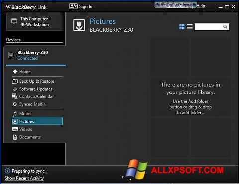 צילום מסך BlackBerry Link Windows XP