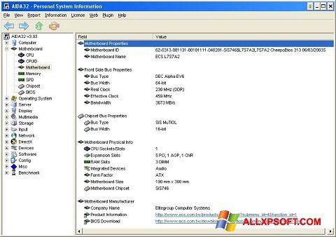 צילום מסך AIDA32 Windows XP