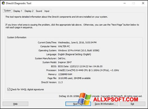 צילום מסך DirectX Windows XP