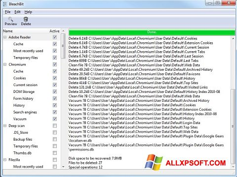 צילום מסך BleachBit Windows XP