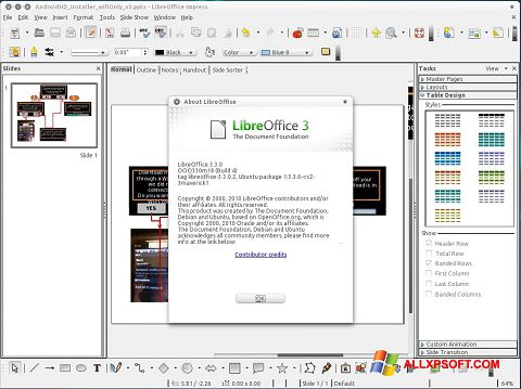 צילום מסך LibreOffice Windows XP