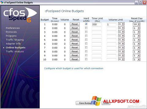 צילום מסך cFosSpeed Windows XP