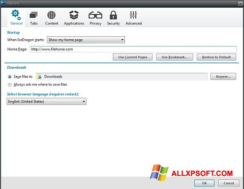 צילום מסך Comodo IceDragon Windows XP