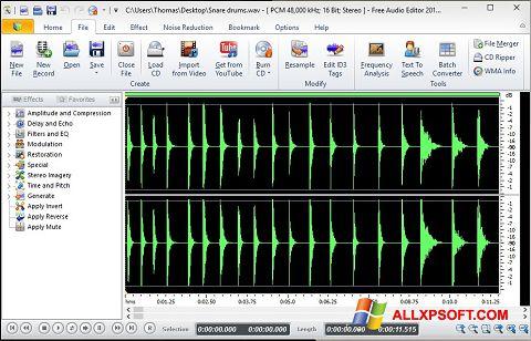 צילום מסך Free Audio Editor Windows XP