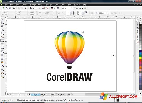 צילום מסך CorelDRAW Windows XP