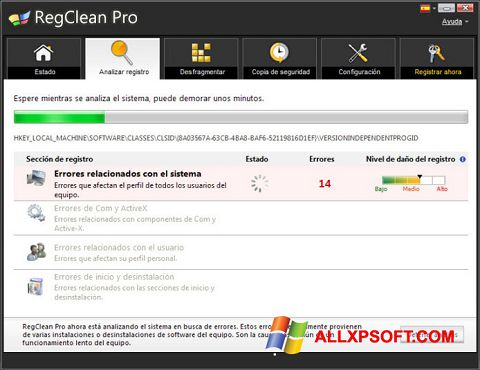 צילום מסך RegClean Pro Windows XP
