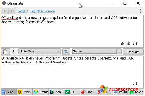 צילום מסך QTranslate Windows XP