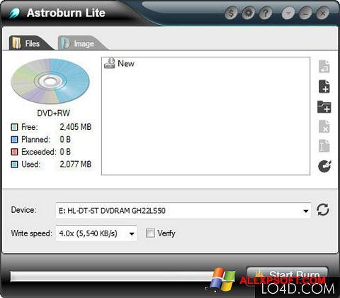 צילום מסך Astroburn Lite Windows XP