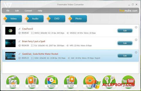 צילום מסך Freemake Video Converter Windows XP