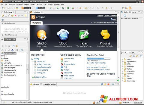 צילום מסך Aptana Studio Windows XP