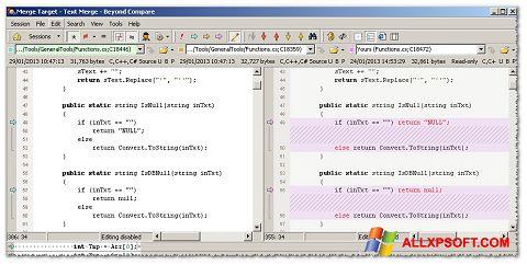 צילום מסך Beyond Compare Windows XP