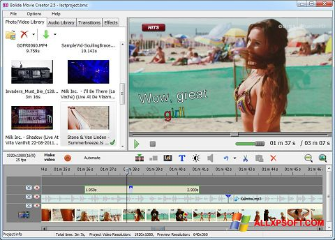 צילום מסך Bolide Movie Creator Windows XP