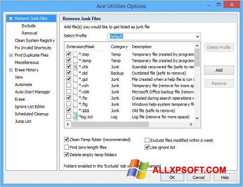 צילום מסך Ace Utilities Windows XP