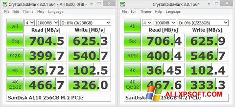 צילום מסך CrystalDiskMark Windows XP