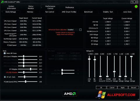 צילום מסך AMD Overdrive Windows XP