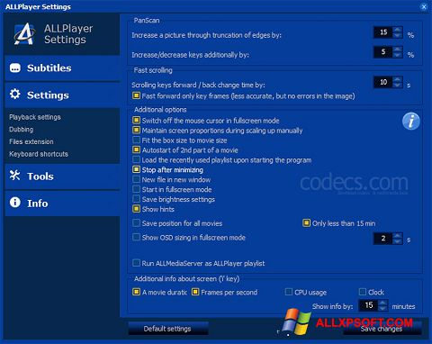 צילום מסך ALLPlayer Windows XP
