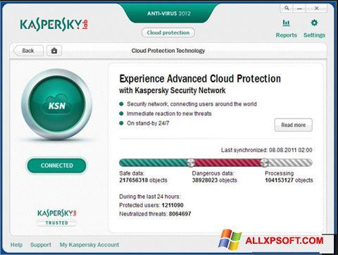 צילום מסך Kaspersky Windows XP