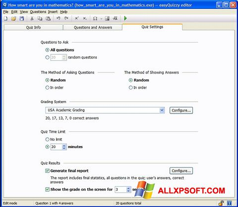 צילום מסך easyQuizzy Windows XP