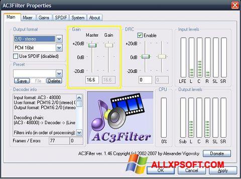 צילום מסך AC3Filter Windows XP