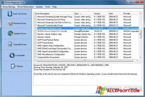 צילום מסך Driver Magician Windows XP