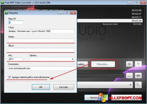 צילום מסך Free MP4 Video Converter Windows XP