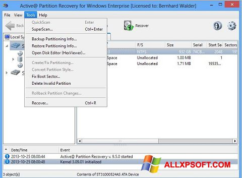 צילום מסך Active Partition Recovery Windows XP