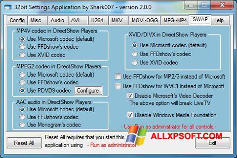 צילום מסך ADVANCED Codecs Windows XP
