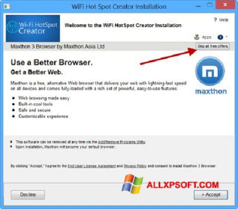 צילום מסך Wi-Fi HotSpot Creator Windows XP