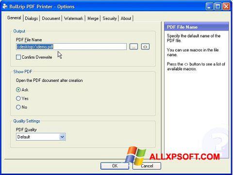 צילום מסך BullZip PDF Printer Windows XP