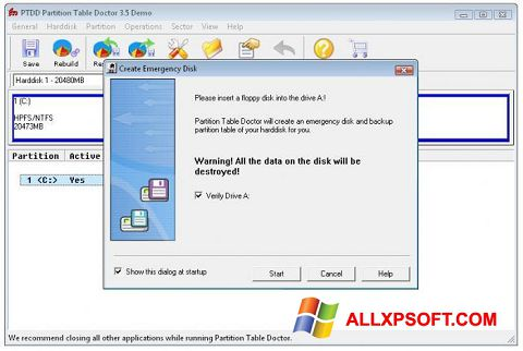 צילום מסך Partition Table Doctor Windows XP