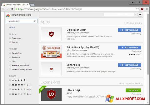 צילום מסך uBlock Windows XP