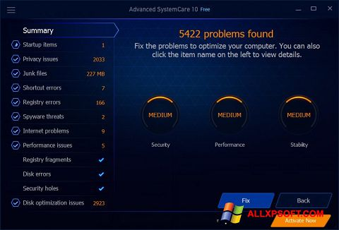 צילום מסך Advanced SystemCare Free Windows XP