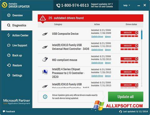 צילום מסך Auslogics Driver Updater Windows XP