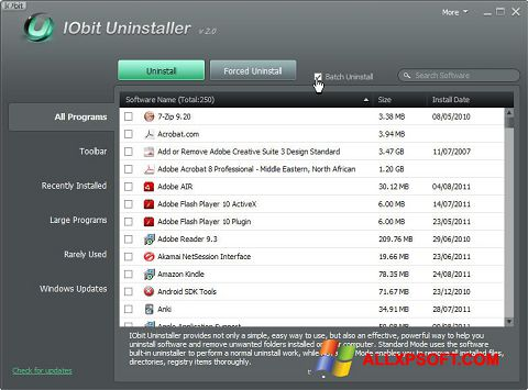 צילום מסך IObit Uninstaller Windows XP