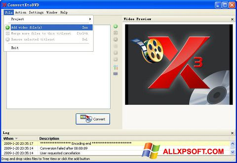צילום מסך ConvertXToDVD Windows XP