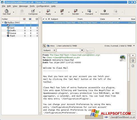 צילום מסך Claws Mail Windows XP