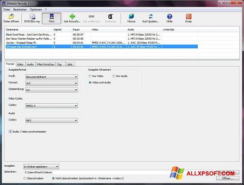 צילום מסך XMedia Recode Windows XP