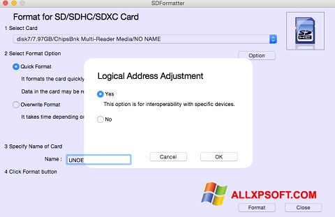 צילום מסך SDFormatter Windows XP