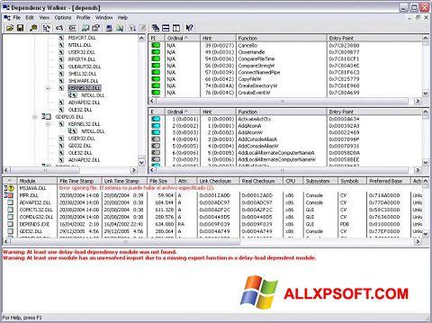 צילום מסך Dependency Walker Windows XP