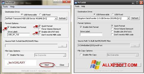 צילום מסך PeToUSB Windows XP