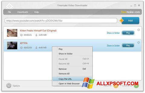 צילום מסך Freemake Video Downloader Windows XP
