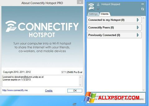 צילום מסך Connectify Pro Windows XP